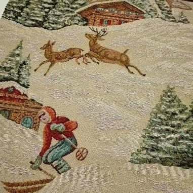 Gobelin misto cotone disegno sciatori...